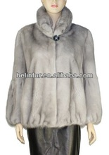 2014 new style best quality lady's mink fur with real chinchilla fur coat MK02