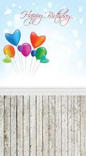Foto telón de fondo de $number pies x $number pies de vinilo delgada de fondo la fotografía de cumpleaños globos Bokeh , fondo de pantalla y el suelo de madera de fondo D-288