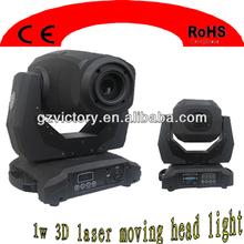 Newest laser lights 1W Full Color 3D Animation Laser moving RGB light/ Laser Projector disco light