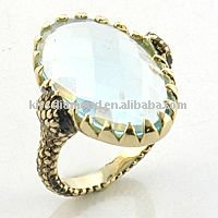 Single CZ Gold Plated Thin Band Ring