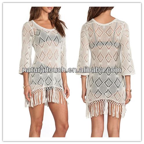 المرأة الكروشيه تصميم 2014 ومرن لون فستان أبيض مثير( ydq03186)