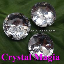 28mm diamond flower shape sew on rhinestone in settings clear crystal