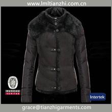 2015 black fur collar down women jacket