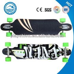 Skate longboard with a sand-like spray-on grip tape