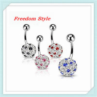 Hot sale Various Color Bedeck White Crystals Clay Ball Navel Rings