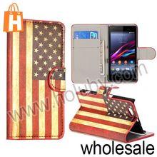 USA Flag Leather Case For Sony Xperia Z1 Mini,Wallet Style Leather Case For Sony Xperia Z1 Mini