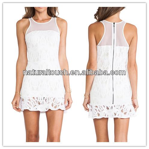 حار بيع 2014 الصيف النساء اللباس اللون الأبيض النقي( ydq03191)