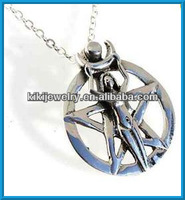 fashion jewelry for 1.00 pentagram and round pendant religious necklace(A110736)