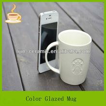 12oz white porcelain starbuck mug engrave logo debossed pantone mug