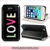 Stone Pattern Faux Leather Case with Crystal Magnetic Closure for iPhone 5S 5 Black