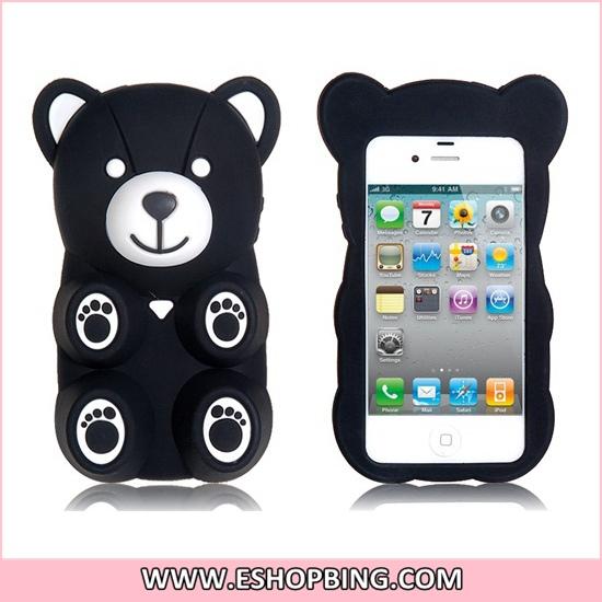 Amigo Cute 3D Bear Shape Protective Case for iphone 4 4S Black