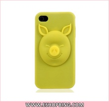 3D Pig Pattern Soft Silicone Case for iphone 4 4S Yellow