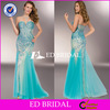 Blue Layers Tulle Strapless Beading See Through Back Full Length 2014 Turkish Evening Dress