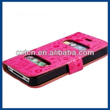 Cartoon Print TPU Rubber & Faux Leather Case for iPhone 4/4S (Red)