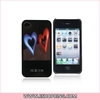 Dual-heart Pattern Mobile Flash Plastic Protetcor Case Cover for iphone 4G