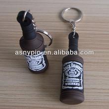 Jack daniel's brand soft pvc key ring, 3D wine bottle shaped rubber key tag, custom brand keychain
