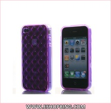 Shell Bubble Diamond Design TPU Case Cover with Screen Protector for iphone 4G Purple
