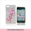 Hard Plastic Sexy Heart Back Cover Skin Case with Crystal Decoration for iphone 4G