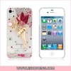 3D Crystal Decorated Fairy Pattern Protective Case for iphone 4 4S Pink