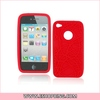 Unique Style Soft Glue Protector Case Skin for iphone 4G Red