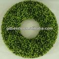 de hierba artificial de madera de boj círculo corona de flores con base de espuma de poliestireno