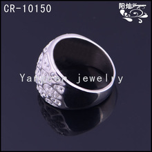 2014 large size jewelry with stainless steel rhinestone ring