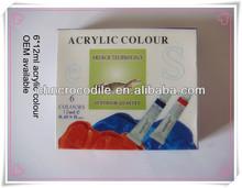 12ml 6colors memory acrylic paint, acrylic paint, acrylic paint manufacture, EN71-3,EN71-9