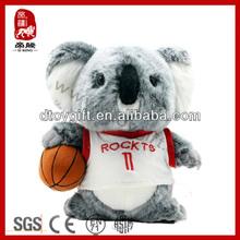 2014 plush mini animal toy cute soprts koala with a basketball stuffed toy koala