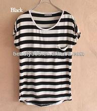 Women custom blank pocket t shirt Short Sleeve Casual Loose flat knit wholesale striped t-shirt