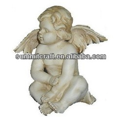 Hot sale closed eyes unpainted resin craft nude child statue fashion garden ornament