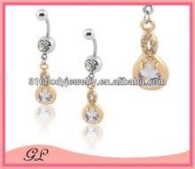 gold dangle steel bar drop tear belly ring waist chain