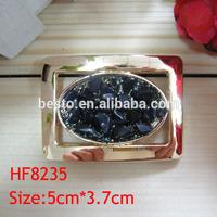 HF 8235 make custom decorative gold black rhinestone square blank metal coat belt buckle