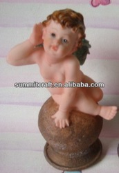New type listenning nude child statue hand painted art and craft