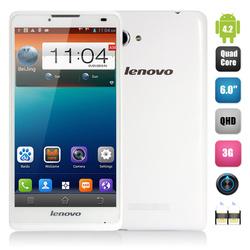 6.0'' Lenovo A880 Phone Android 4.2 MTK6582 Quad Core 1.3GHz QHD Screen 960X540 Pixels RAM 1GB ROM 8GB 0.3MP+5.0MP