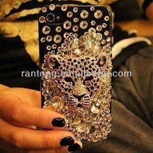 Whosale glitter tiger rhinestone phone case,cheap phone cover for iphone 5