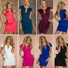 7 Colors S M L XL Plus Size 2014 New Fashion Sexy Women V Neck Popular Peplum Dress Bodycon Bandage Dress Casual Dress
