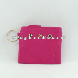 Pink Fabric Change Wallet / Purse With Metal Round Hook