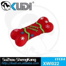 Merry Christmas gift bone pet toy with squeaky vinyl bone XWI022