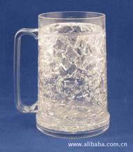 McDonald Walmart Sedex audit Manufacture Bpa Free Hot selling Summer Double Wall Frosty Gel Plastic Freezer Beer Mug With Hanlde