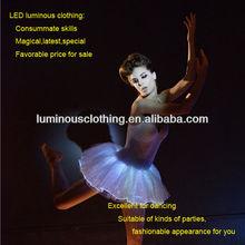 2014 led luminous sex optic fiber fabric ballet length evening dresses promotional dancing ballet dress