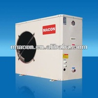 Wall mounted heating and cooling unit for hotel with EVI