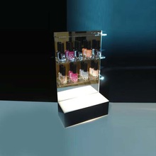 Elegent makeup case with lighted cosmetic counter display stand
