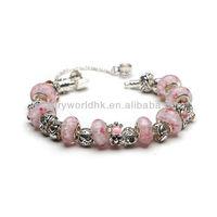 Popular bracelet! Lovely pink bead charm popular bracelet
