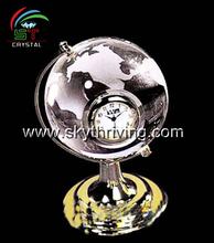 crystal globe clock, crystal crafts, crystal globe