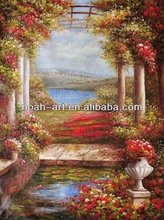 Natural village scenery oil painting