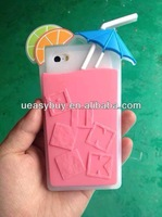 Cool Summer Beach Colorful 3D Fruit Juice Soft Silicone Case Cover for iphone 5 5s , Attractive phone case for iphone 5 5s