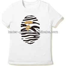 wholesale latest fashion OEM ladies zebra print t-shirt 100% cotton