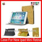 Brown Earth Line Material,Muti-Angle Stand Leather Auto Wake Sleep Smart Cover Case For Ipad Mini Retina 7.95'' leather case