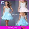 E547Lovely Short Girls Wear Off Shoulder Beading Organza Bottom Dubai Evening Dress