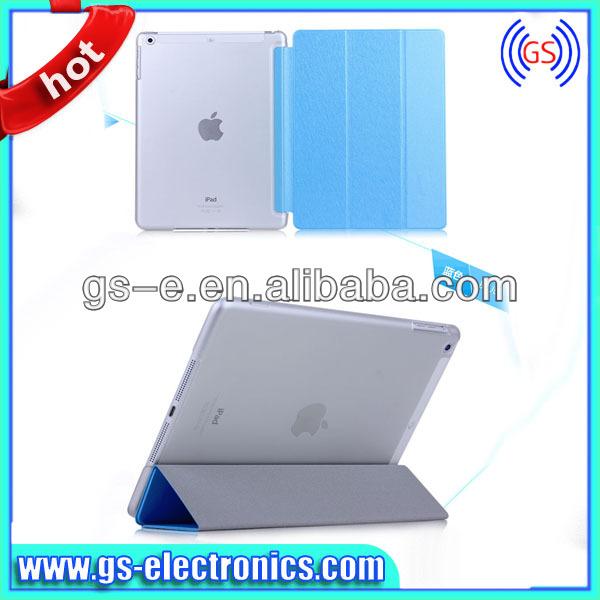 De lujo Ultra delgada de la PU de cuero plegable inteligente caso de la cubierta para el iPad 5 iPad delgado dura de la pc caso de la cubierta